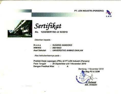 contoh sertifikat magang koleksi dokumentasi