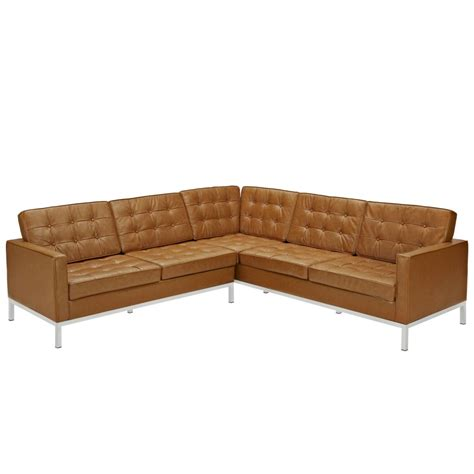 L Sectional Sofa Bateman Leather L Shaped Sectional Sofa Modern Furniture Brickell Collection
