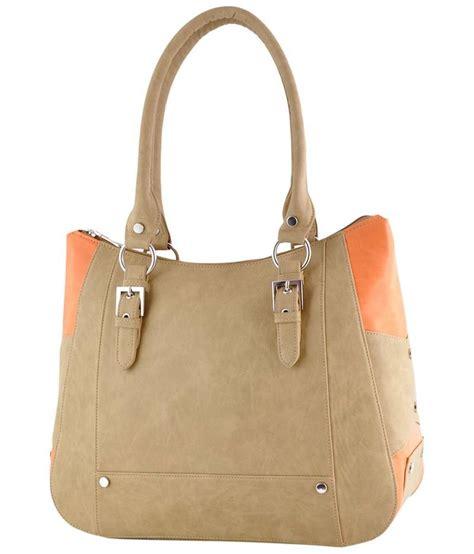 buy beige and orange solid handbags
