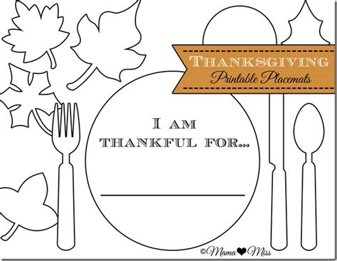 i am thankful for template pre k card thanksgiving placemats free printable miss