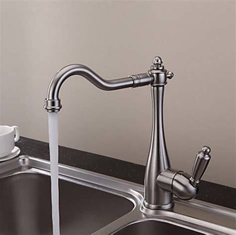 Designer Kitchen Faucet by Vintage Style Nickel Brushed Curve Design Kitchen Faucet
