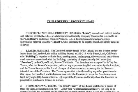 net lease template rent and lease template free premium