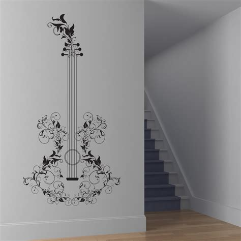 musical wall stickers floral guitar wall decals wall stickers transfers ebay