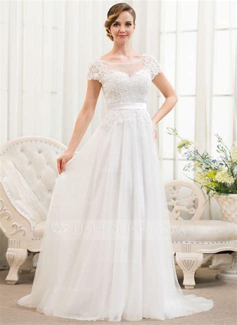 hochzeitskleid jjshouse a line princess scoop neck sweep train tulle lace wedding