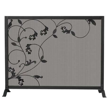 uniflame black wrought iron single panel fireplace screen
