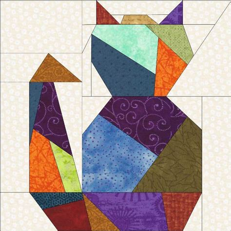 Patchwork Cat Pattern - cat two paper quilt block by madcreekdesigns