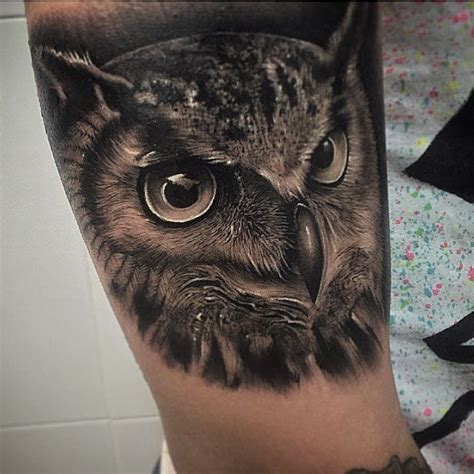 black owl tattoo black and grey owl 3d design for leg by samuel