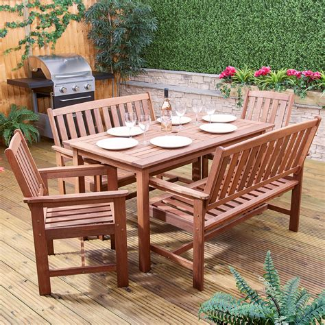 Cedar Patio Furniture Sets Monaco Rectangular Wooden Garden Dining Set