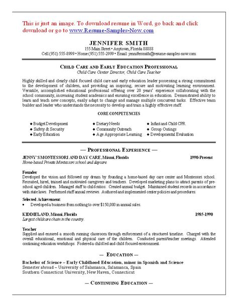 Child Care Resume by 11 Child Care Sle Resume Best Riez Sle Resumes