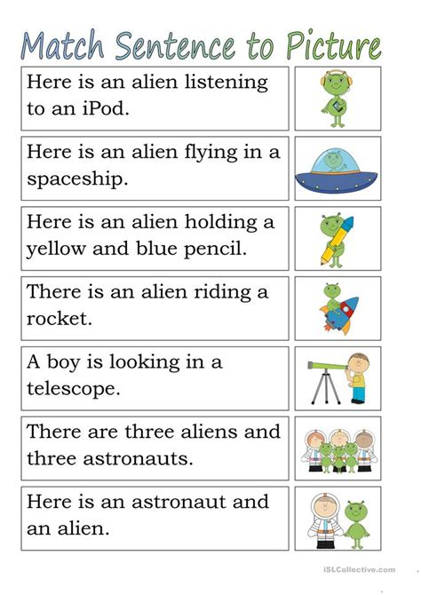 Matching For And - match sentence to pictures space worksheet free esl