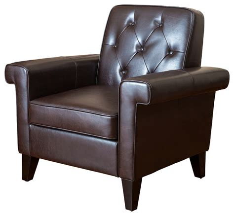 Brown Leather Tufted Chair by Menlo Button Tufted Club Chair Brown Leather