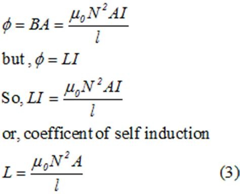 formula for inductance of a solenoid physics 12th inductance