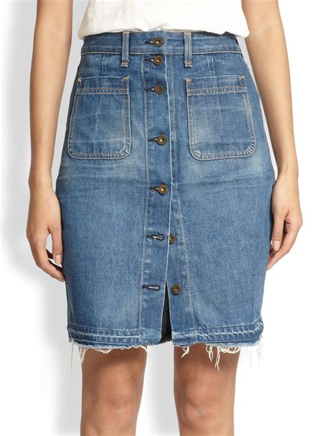 rag bone buttonfront denim skirt in blue lyst