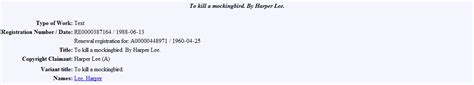 Copyright Office by File Copyright Office To Kill A Mockingbird Renewal
