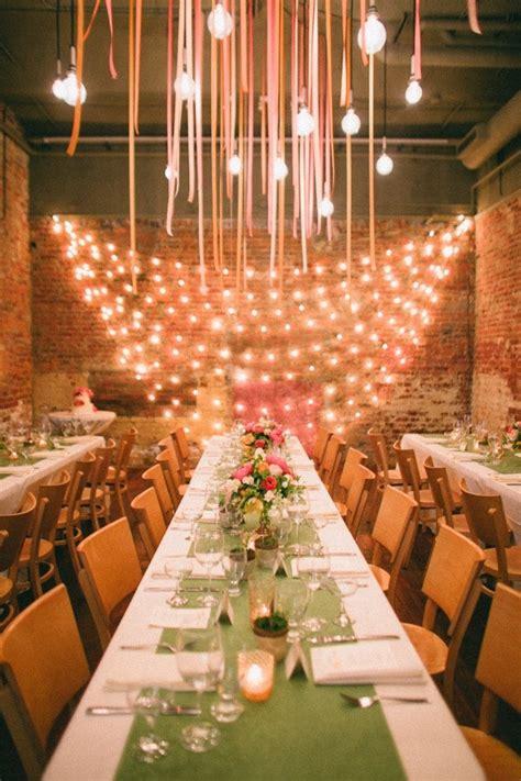 wall decorations for wedding receptions italian lights brick walls wedding reception with punch