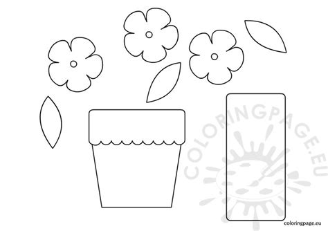 potted flower pot card flowers templates paper flower pot template coloring page