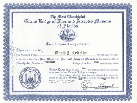 masters degree certificate template by worshipful david j lettelier