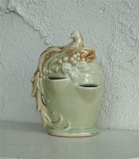 vintage bird mccoy strawberry planter pottery green