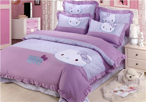 purple full size comforter sets free shipping kids 4pcs cartoon cotton hello kitty purple
