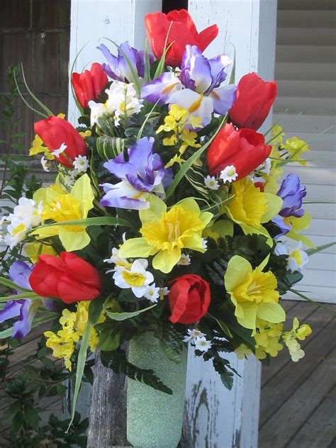 Grave Vases For Flowers by Silk Cemetery Arrangement Memorial Flowers By