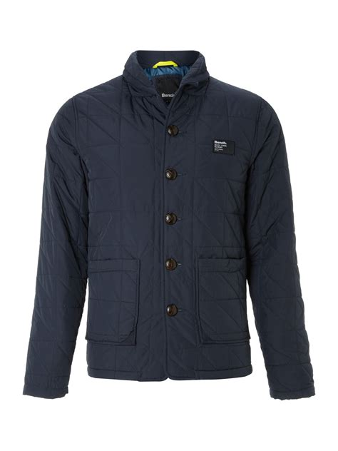 bench quilted jacket bench zip through quilted jacket in blue for men navy lyst