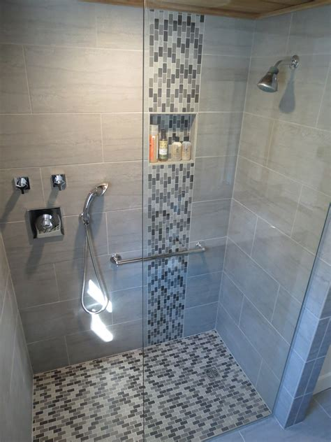 bathroom floor to wall ideas bathroom simple design mosaic glass tile shower accent