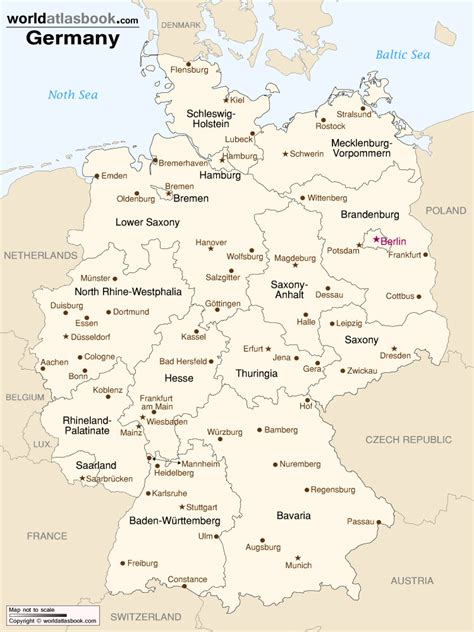germany state map map of germany with states cities world atlas book
