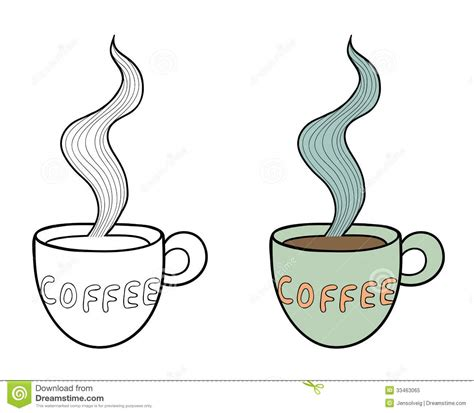 set of two vector doodle coffee cups outline and royalty