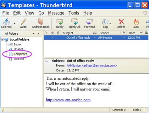 thunderbird template out of office reply with thunderbird