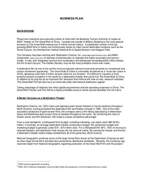 Letter Of Agreement Theatre 2005 Great Wall Of China Imax Theater Business Plan
