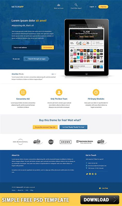 Simple Landing Page Template Free Psd Freebies Stock Images Icons And Psds Pinterest Simple Website Design Template