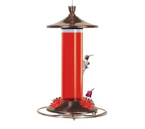 copper and glass hanging hummingbird feeder qvc com