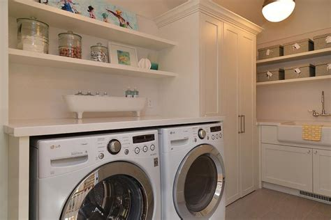 Free Standing Kitchen Pantry Furniture by Stacked Floating Shelving Over Washer And Dryer Cottage