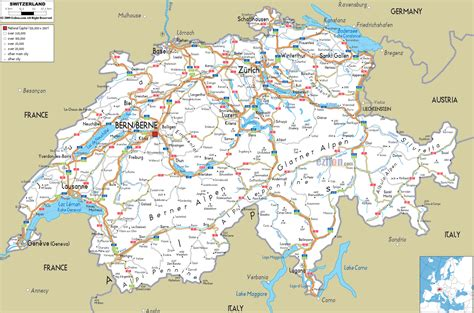 printable switzerland road map swiss transport map