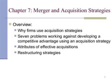 Mergers And Acquisitions Mba by Merger And Acquisition Strategy