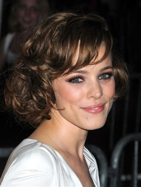 haircuts for curly hair short with bangs celebrity short wavy curly hairstyle with side swept bangs