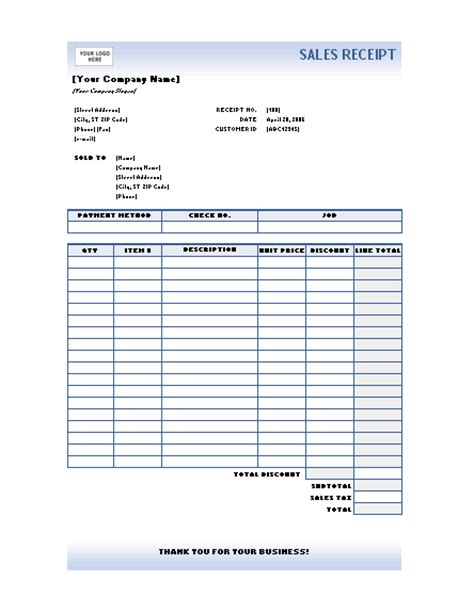 free sales receipt template word
