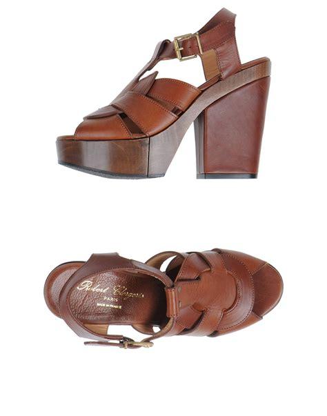 brown platform sandals robert clergerie block heel platform sandals in brown lyst