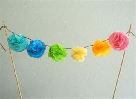 How To Make Mini Tissue Paper Pom Poms - cake topper mini tissue paper pom pom cake topper garland