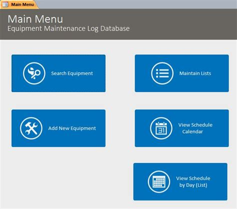 maintenance database access template microsoft access equipment maintenance log tracking