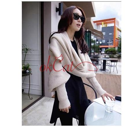 Baju Sweater Import Original White Winter Knit winter warm infinity 2 circle cable knit cowl neck scarf shawl ebay