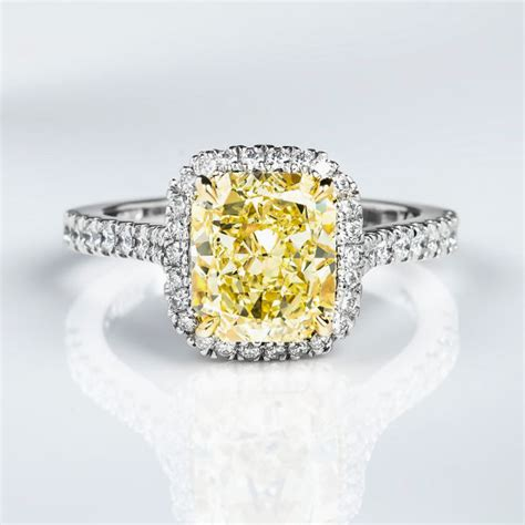 radiant halo fancy yellow engagement ring 3 54 t