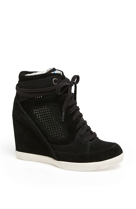 high top wedge sneakers connection marla high top wedge sneaker in black lyst