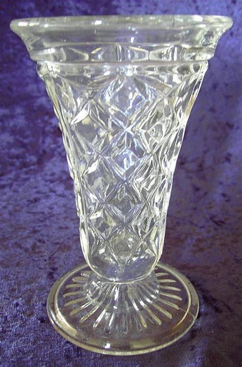 bygone elegance vintage clear pressed glass flared top vase