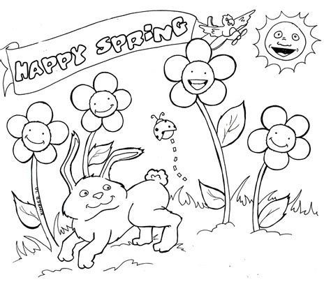 Spring Coloring Pages Free Large Images Springtime Coloring Pages