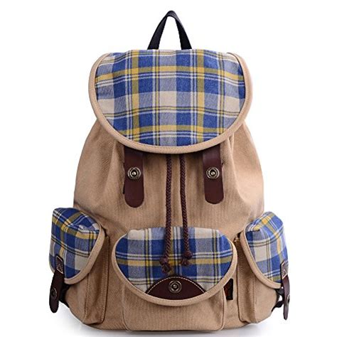 Fashion Casual Backpack Khaki dgy unisex korean fashion casual canvas backpack for