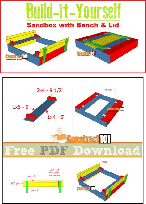 sandbox plans  bench lid   construct