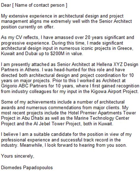 senior architect cover letter architect cover letter sle