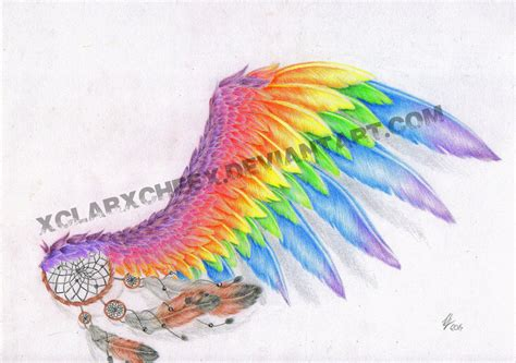 rainbow wing tattoo sketch by xclarxcheex on deviantart