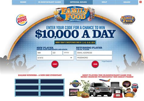 Burger King Sweepstakes - the burger king family food game and sweepstakes